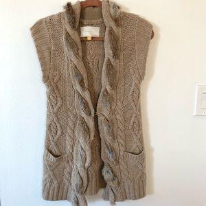 Anthropologie Leifsdottir fur trimmed wool vest
